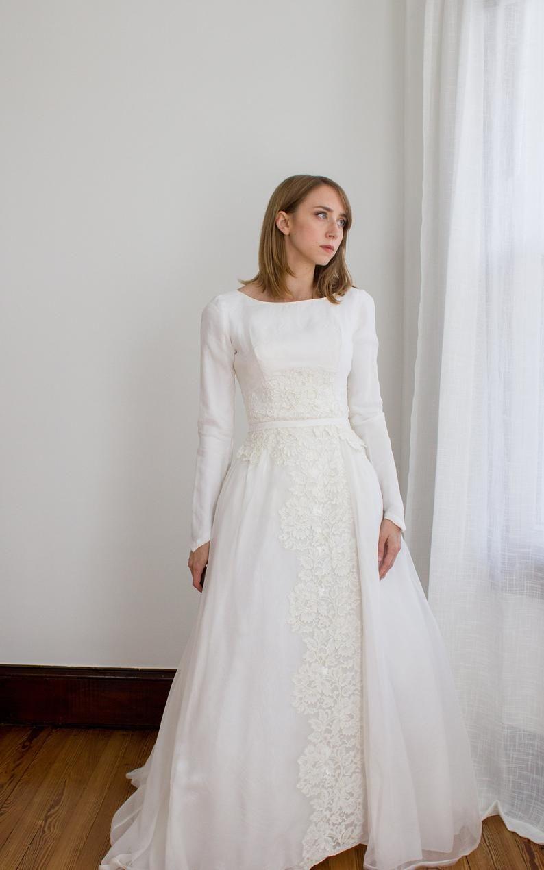 Vintage 1950 S Long Sleeve Chiffon Wedding Gown Lace Etsy Wedding Gowns Lace Modest Wedding Dresses Chiffon Wedding Gowns [ 1270 x 794 Pixel ]
