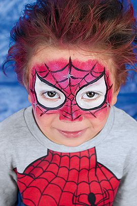 schmink anleitung f r spiderman spiderman face paintings and boys face painting. Black Bedroom Furniture Sets. Home Design Ideas