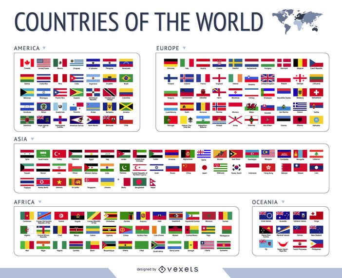 World Flags Vector Huge collections of design resources - fresh world map with all countries vector