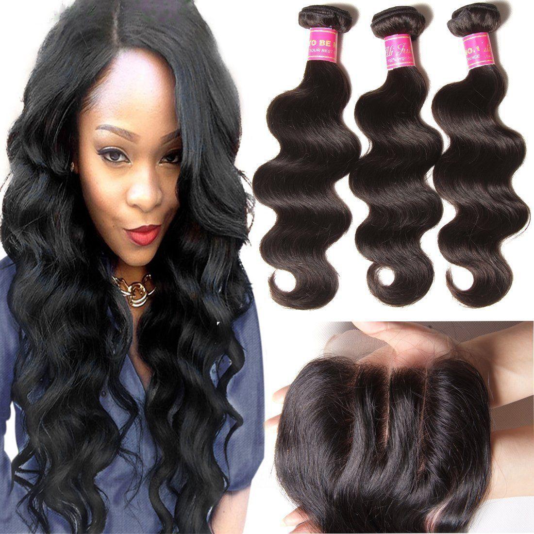 Ali Julia 12 14 16 10 Inch Brazilian Virgin Body Wave Hair Weft 3 Bundles With 1pc 44 Three Part Lace Clos Human Hair Weave Extensions Hair Weft Body Wave Hair