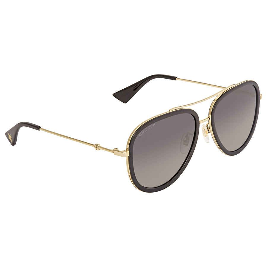 Gucci Polarized Grey Gradient Aviator Sunglasses GG0062S 011 57 | savingfashioncost.com