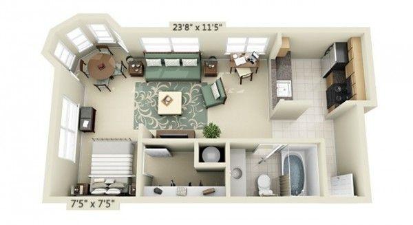 Plan appartement studio avec cuisine carrelage mes maison pinterest plans appartement - Lay outs huis idee ...