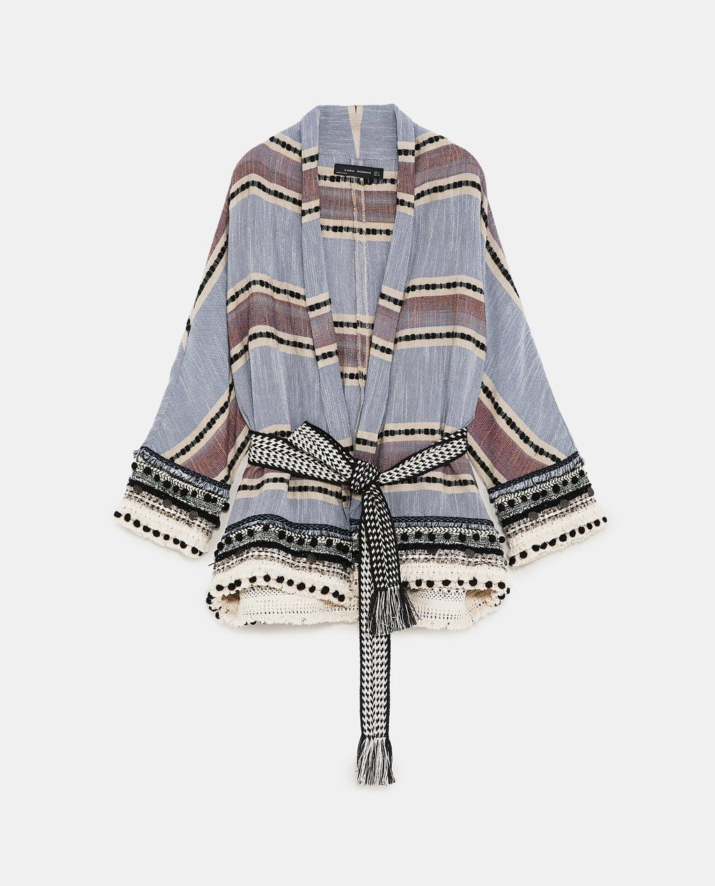 1b1fb5eb18 Image 8 of STRIPED KIMONO WITH POMPOMS from Zara | Fashion Trends ...