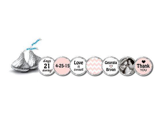 216 Bridal Shower Hershey Kiss Stickers BLUSH