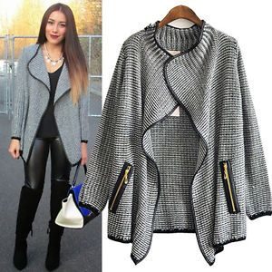 New Fashion Womens Wool Cardigan Sweater Loose Long Trench Coat ...