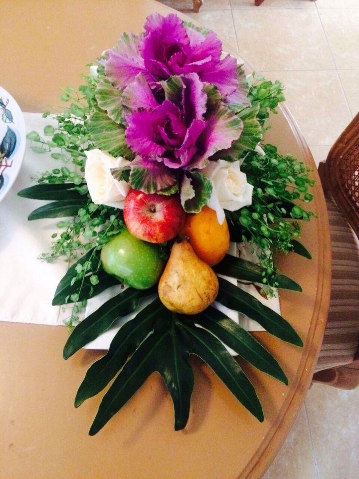 Arreglo De Flores Para Comedor Hecho Con Flores Y Frutas De