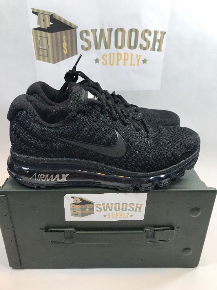 well known latest fashion online retailer NIKE AIR MAX 2017 Size 7 Triple Black 849559 004 NEW Mens Shoes ...