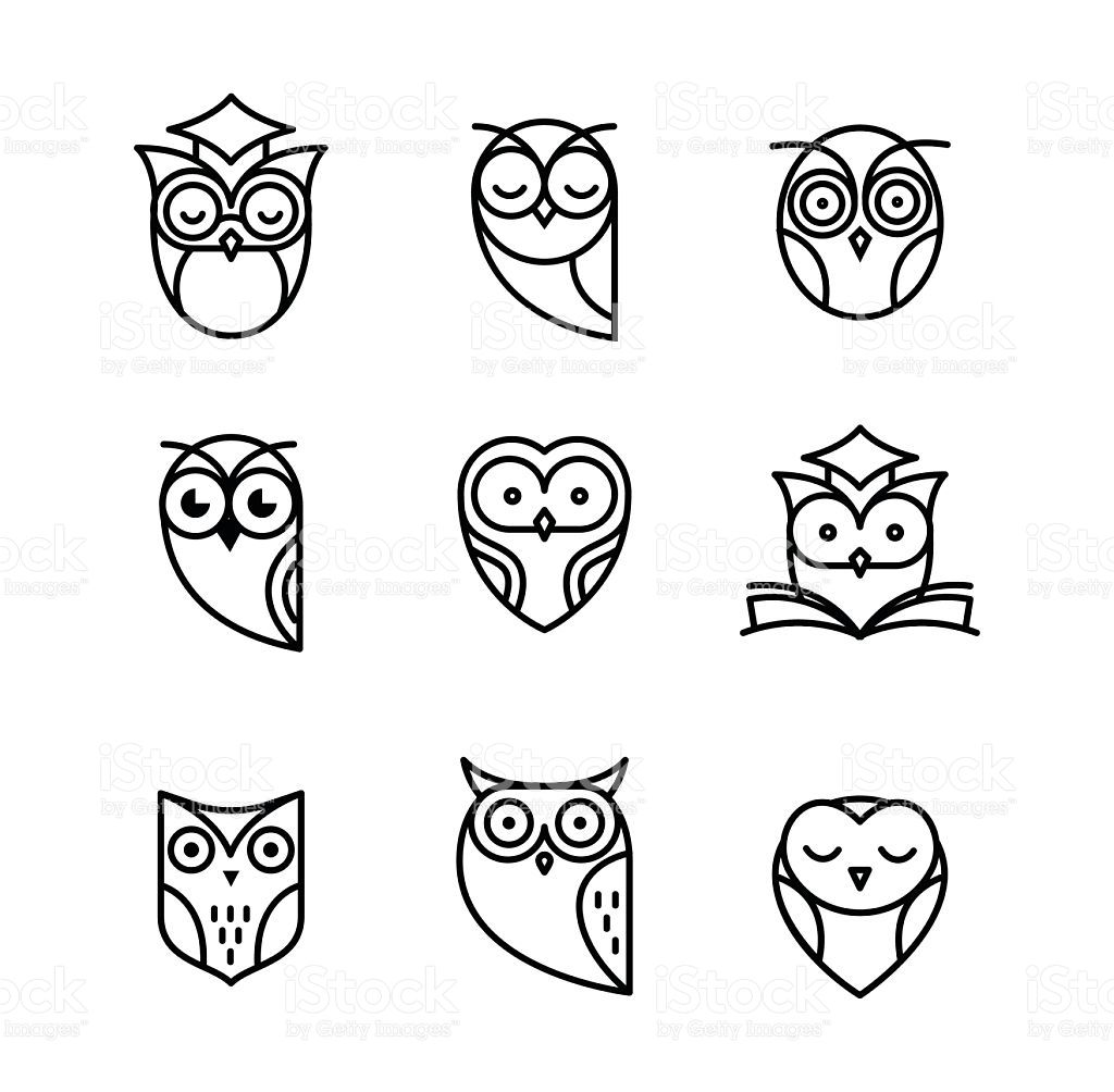 Owl Black Outline Icons Collection Simple Owl Tattoo Owl Drawing Simple Owl Tattoo Back