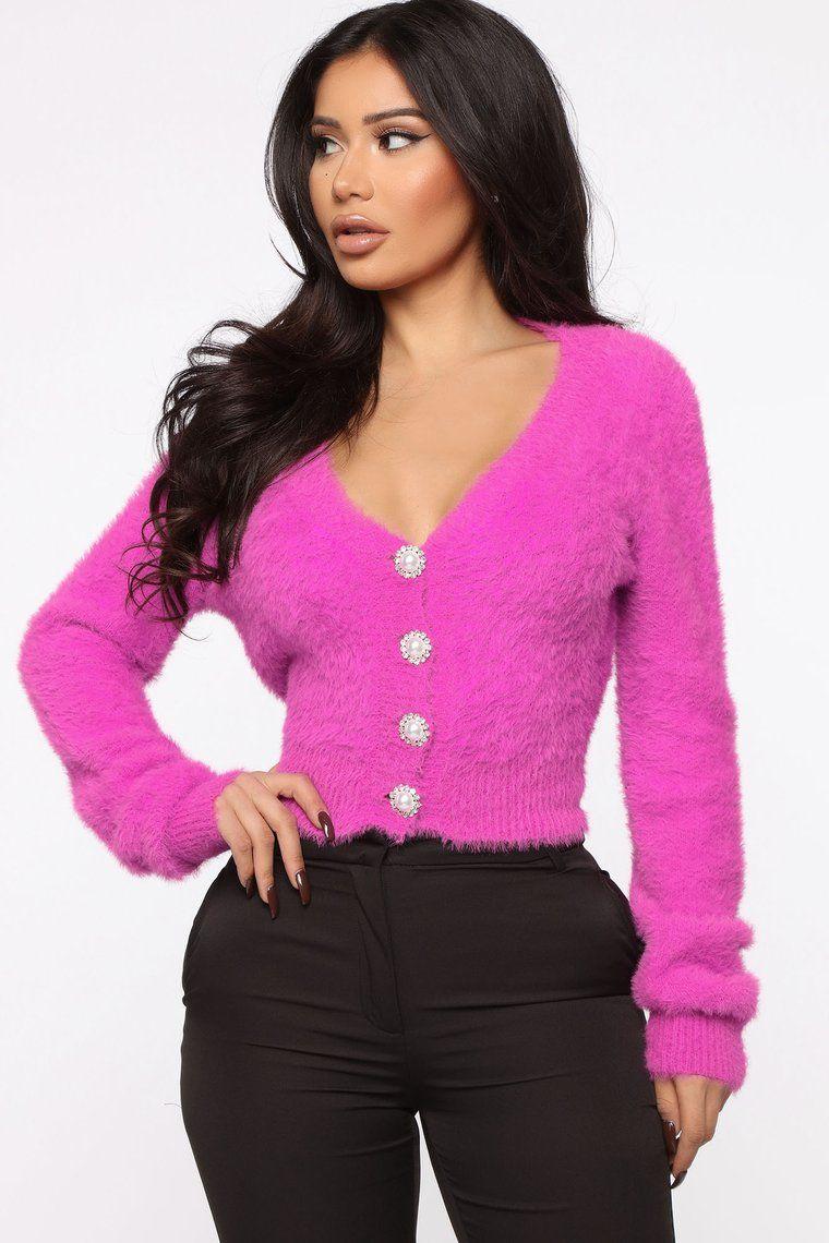 Pretty Woman Fuzzy Cardigan Purple Pink fuzzy sweater