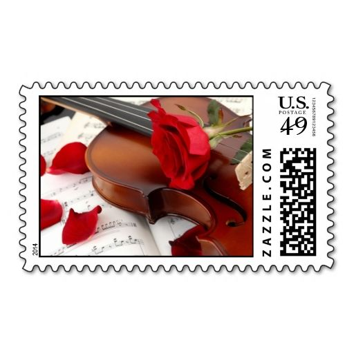 Artistic Violin Red Rose Sheet Music Postage Zazzle Com Lindas