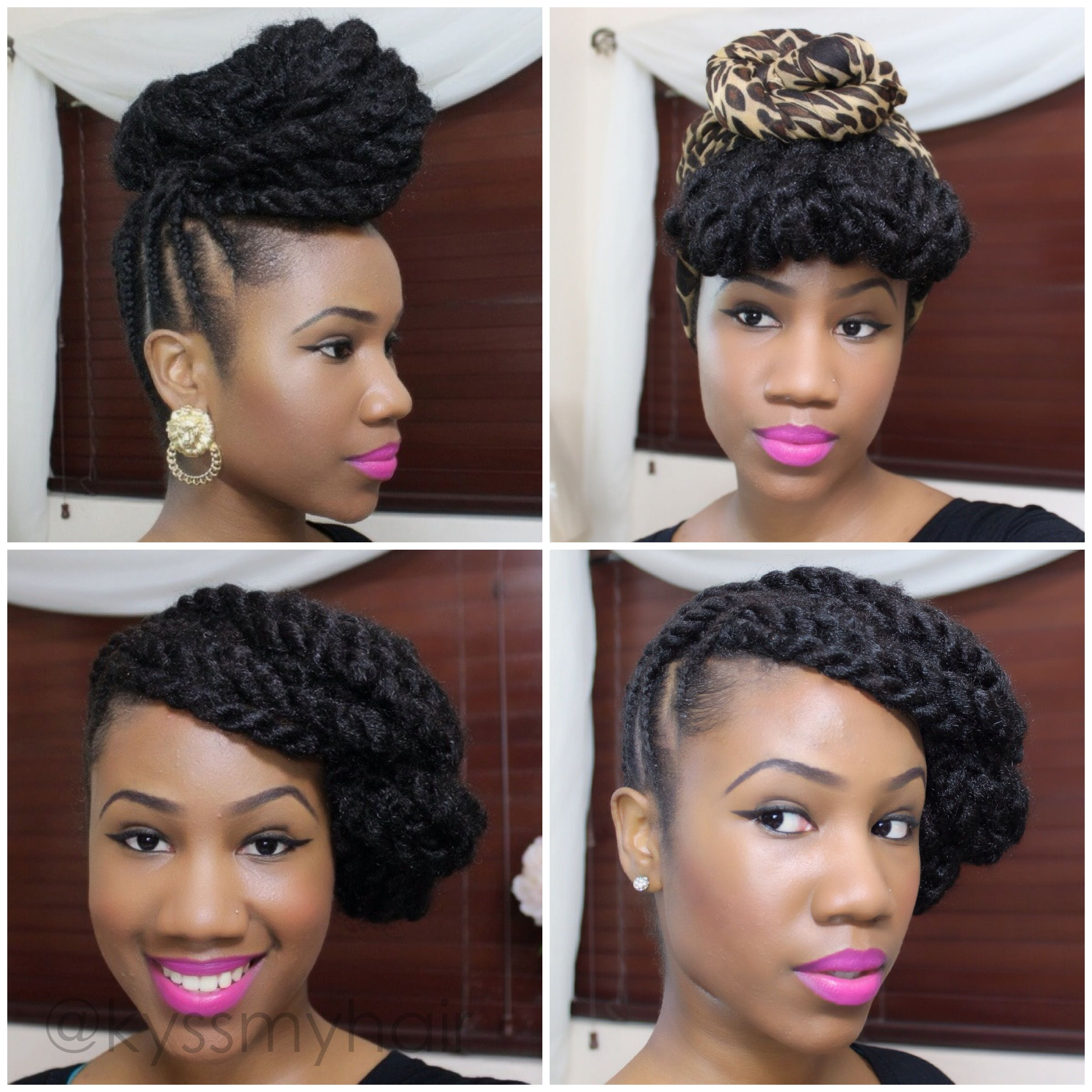 braided updo on natural hair using marley hair | kyss my hair