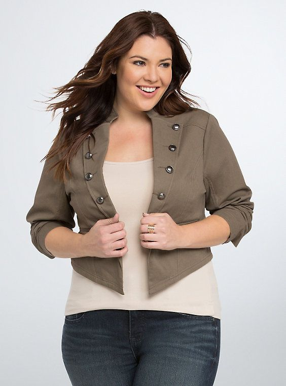 Military style jacket womens plus size