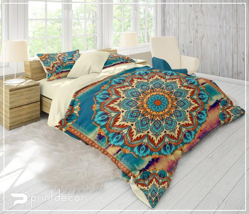 Mandala Bedding Orange And Teal Blue Mandala Bedding Etsy Hippie Bedding Orange Bedding Mandala Bedding