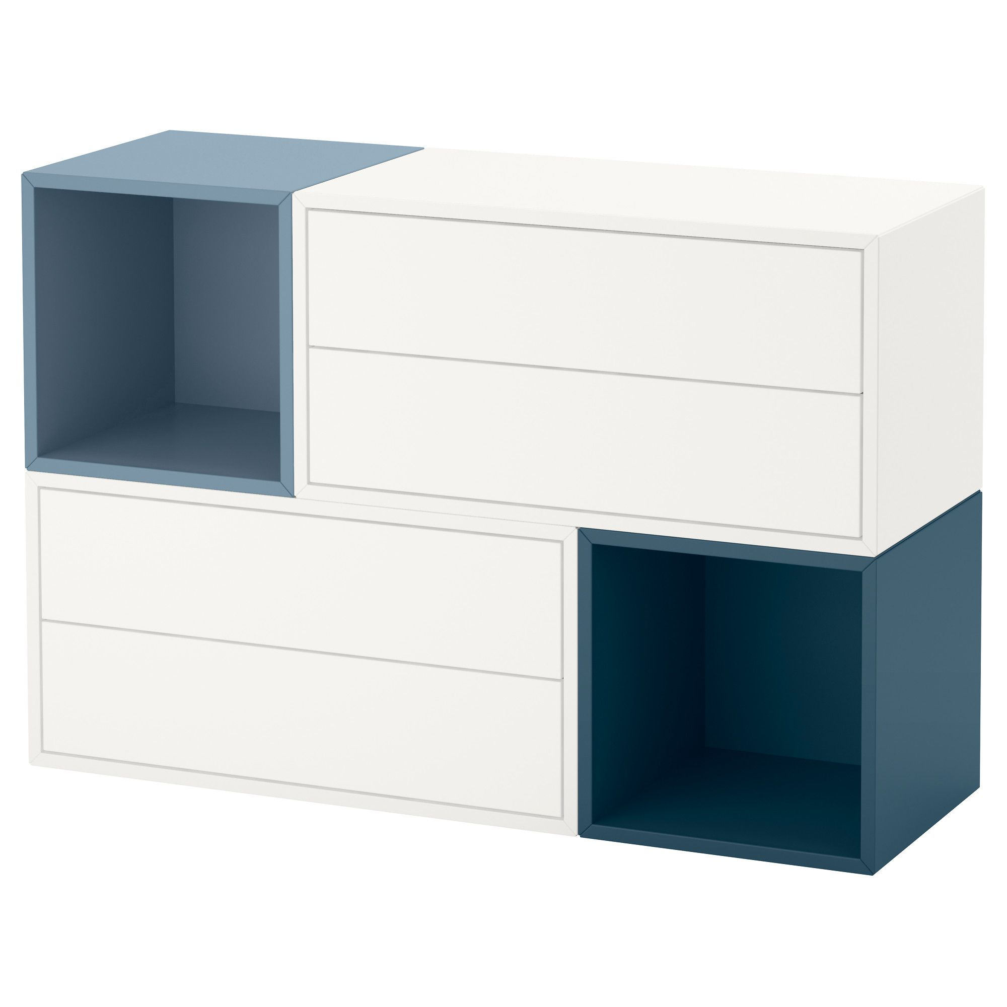 EKET Wall-mounted cabinet combination White/light blue/dark blue 105x35x70 cm | Ikea eket, Wall ...