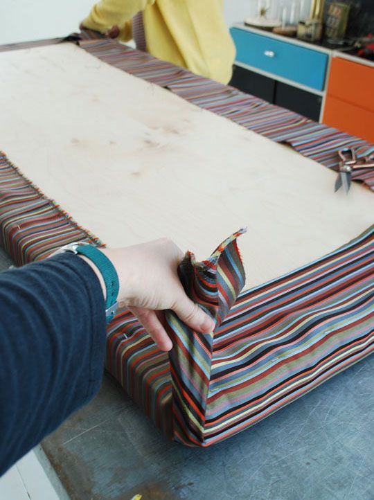 How to make an easy no sew cushion fabrics easy and for Outdoor furniture cushion cover material