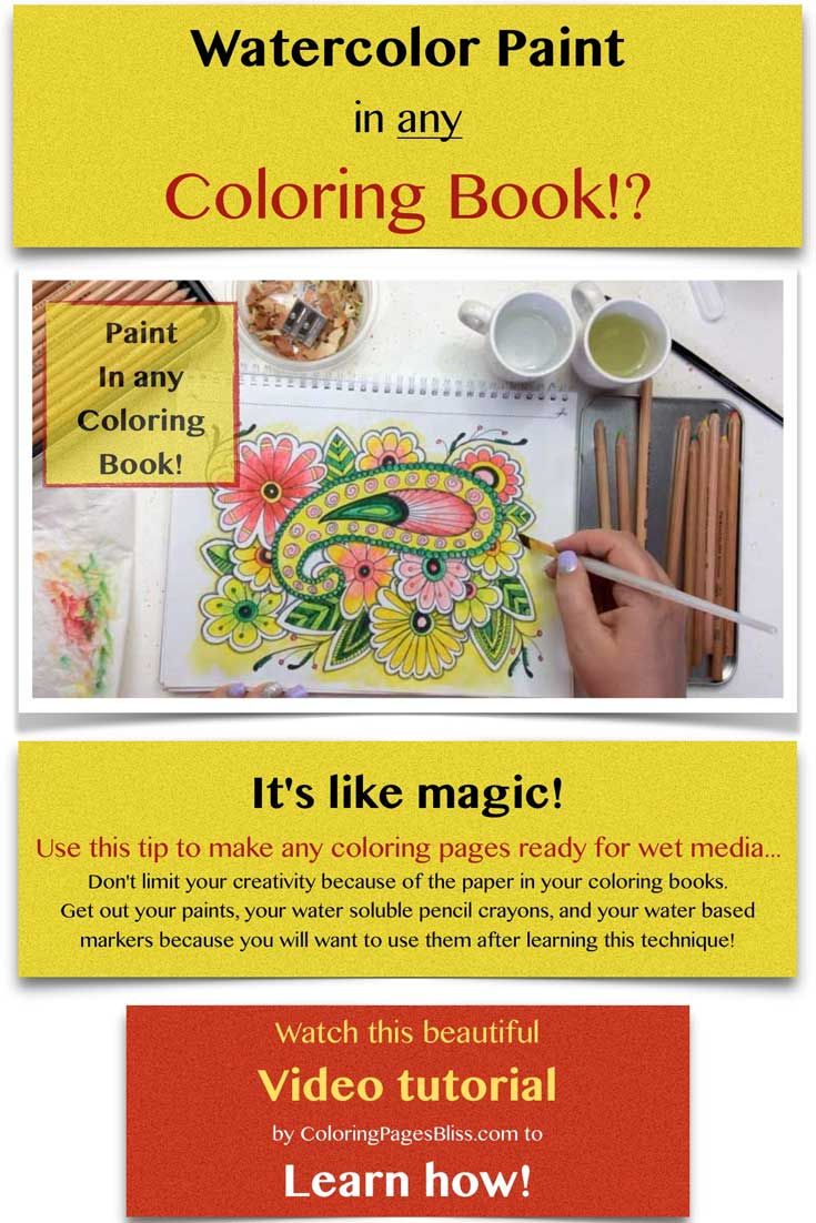 How To Watercolor Paint In Coloring Books It S Like Magic This Coloring Tip Will Make It Possible For You To U Coloring Pages Watercolor Books Coloring Books