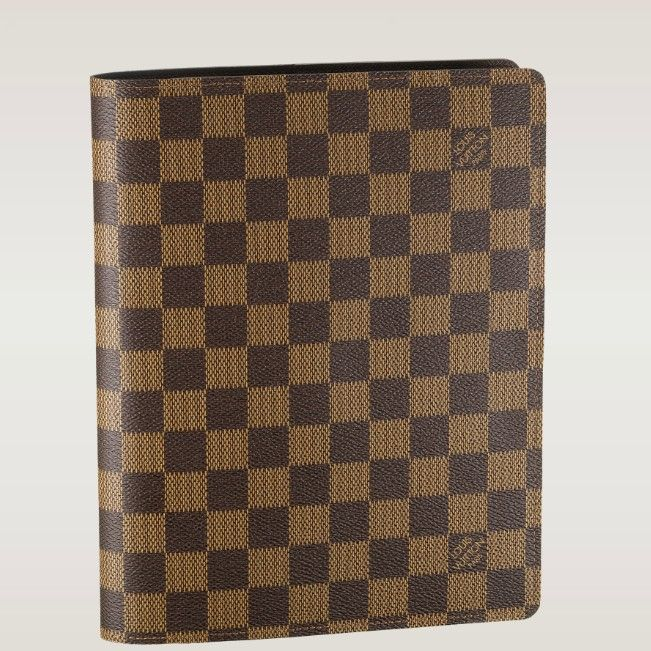 (Height*Depth) 9.06 X 7.09 inches  - Damier canvas, cross grain leather lining  - Compartments for papers and cards  - A standard A5 notebook can fit in it  - 6 credit ard slots  - Desk Agenda refills and address book available separately
