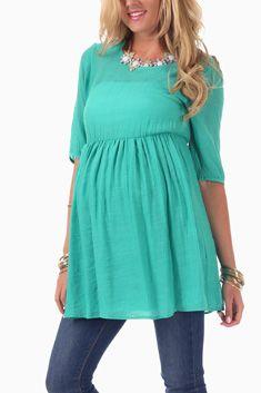 Mint Green 3/4 Sleeve Maternity Tunic