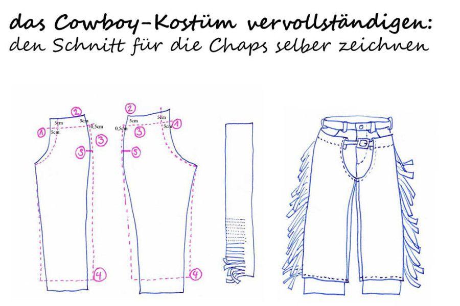 das Cowboy-Kostüm vervollständigen: das Schnittmuster für die Chaps ...