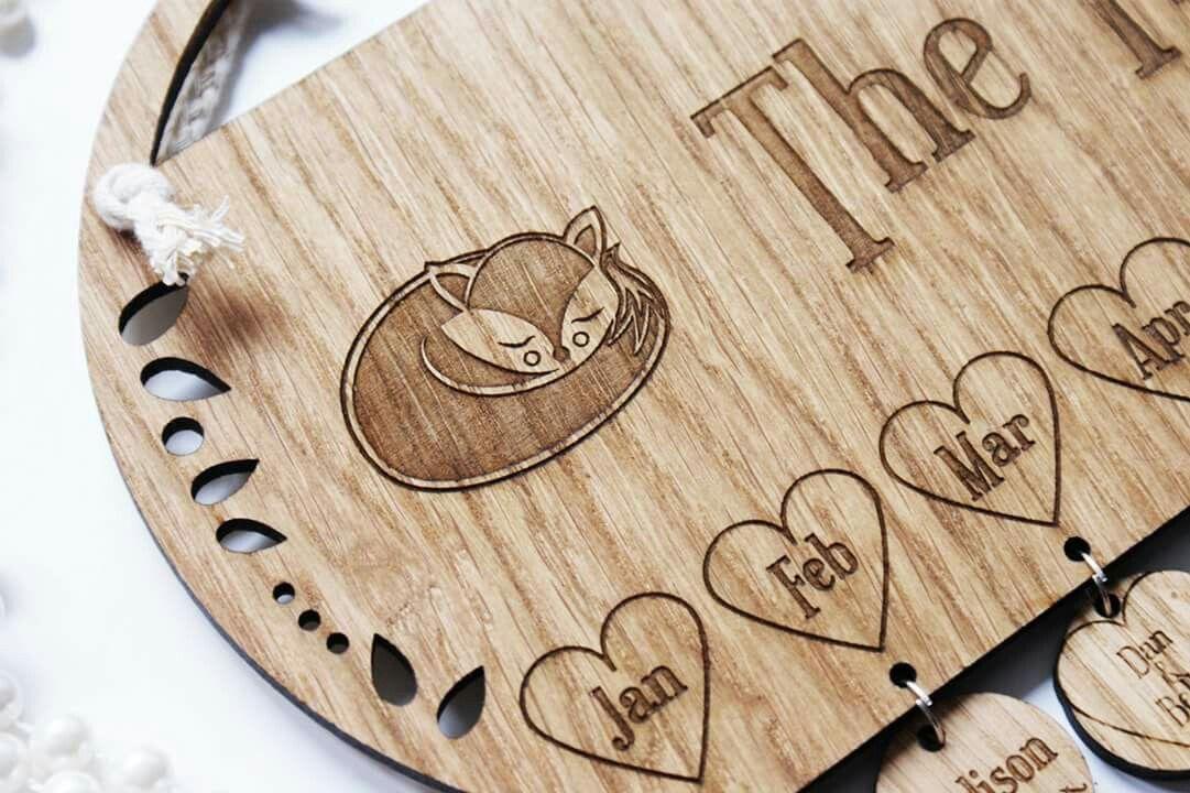 Laser engraved wooden calendar Laser cut wood Pinterest Laser
