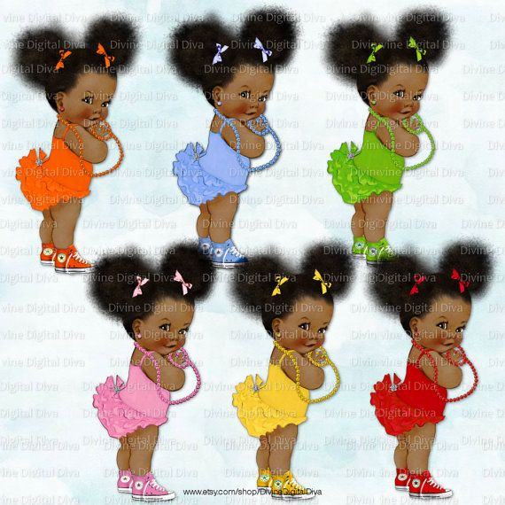 African American Baby Girl Clipart Instant Download Ruffle Pants Natural Hair Ponytails Puffs Red Orange Yellow Green Pink