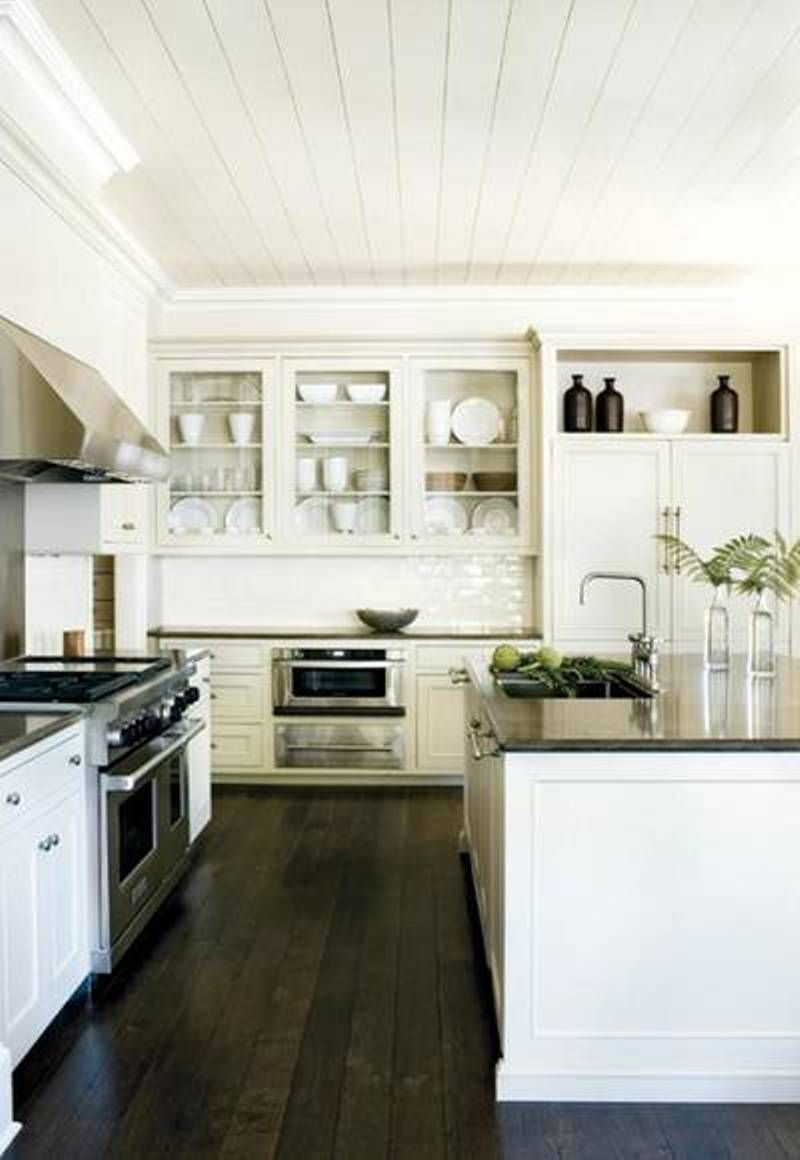 Amazing Kitchen Design Idea With Dark Floor White Cabinets And White Ceiling Hardwood Floors Dark Wood Floor Design Rustic Kitchen Design