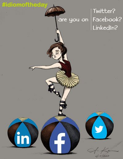 are you on Facebook/ Twitter/ LinkedIn?: Whenever we want to ask if somebody has got a Facebook/ Twitter/ LinkedIn account we say if he/she is ON that particular network Are you on Facebook/ Twitter/ LinkedIn? (¿Tienes Facebook/ Twitter/ LinkedIn?) #idiomoftheday   Drawing by Amber C. Kenneson (http://amberkenneson.blogspot.ca/)