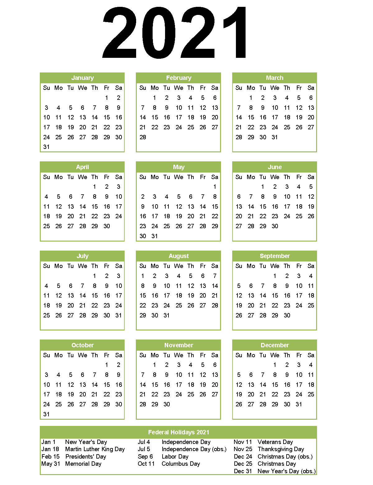 2021 Portrait Holidays Calendar in 2020 | 2021 calendar ...