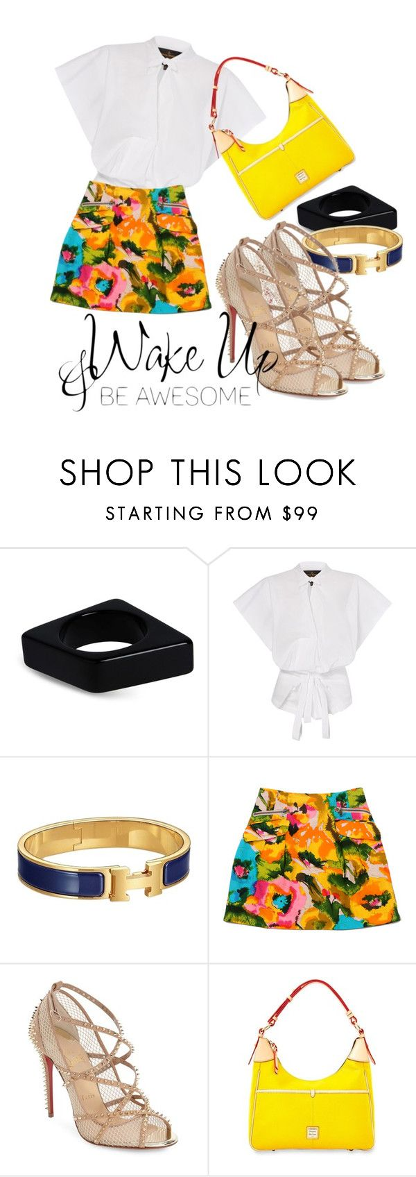 """""""yellow me"""" by omahtawon ❤ liked on Polyvore featuring Marni, Hermès, Nanette Lepore, Christian Louboutin and Dooney & Bourke"""