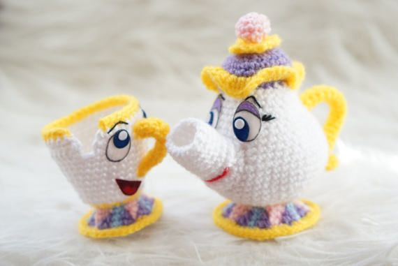Pack 2 in 1 Mrs Potts and Chip Beauty and the Beast Amigurumi ...