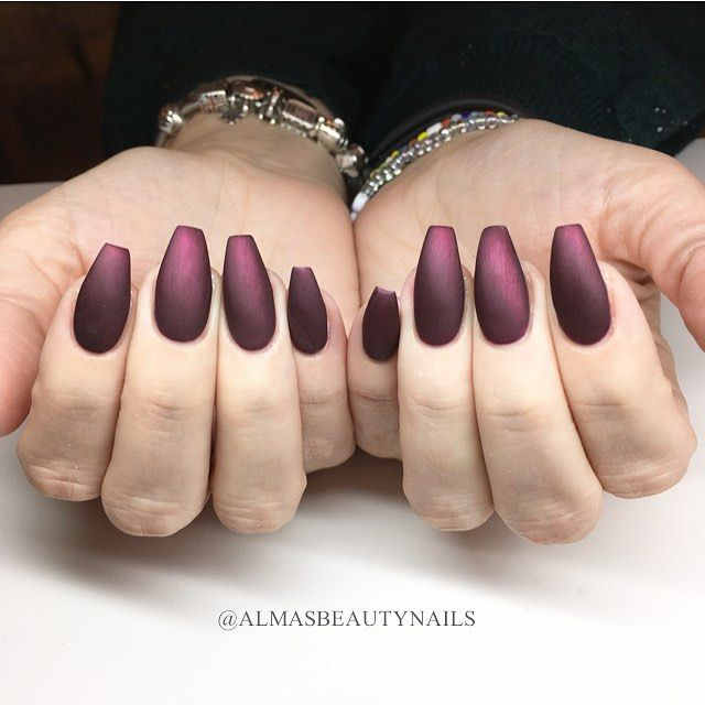 Coffin Nails In Acrylic Black Cherry In Matte By Alma Nordahl Nails Coffin Nails Instagram Posts
