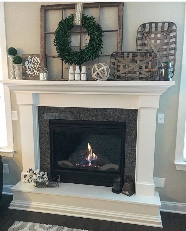 47 Fireplace Designs Ideas: Like The Window Frame And Large Wreath