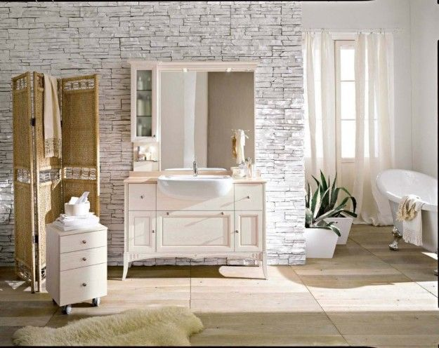 Arredare con le tende idee per il bagno beige bathroom for Tende country per bagno
