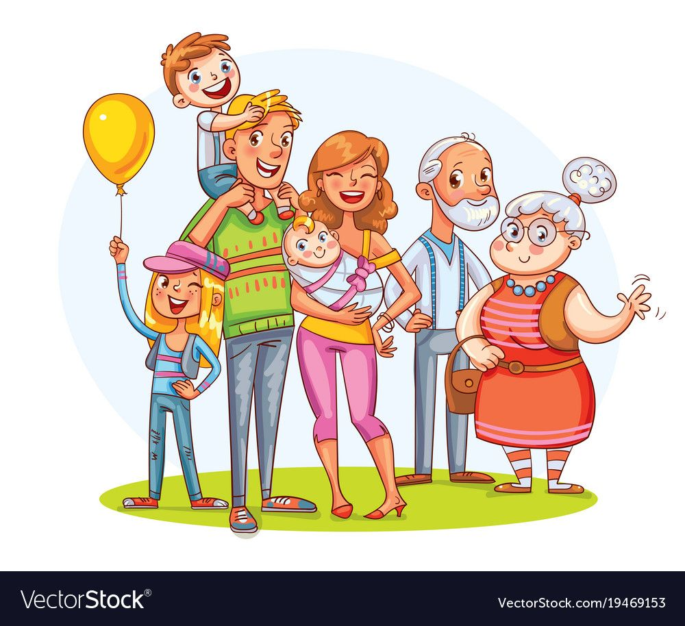 My Big Family Together Funny Cartoon Character Vector Image
