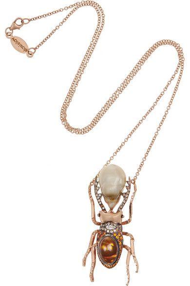 DANIELA VILLEGAS Thessalorike 18-karat rose gold multi-stone necklace #jewelry