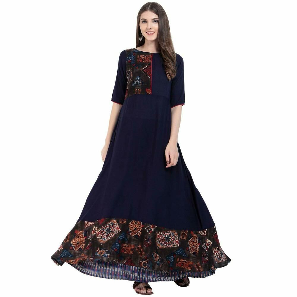 Indian Kurta Kurti Bollywood Women Designer Dress Embroidered Long Tunic Top New