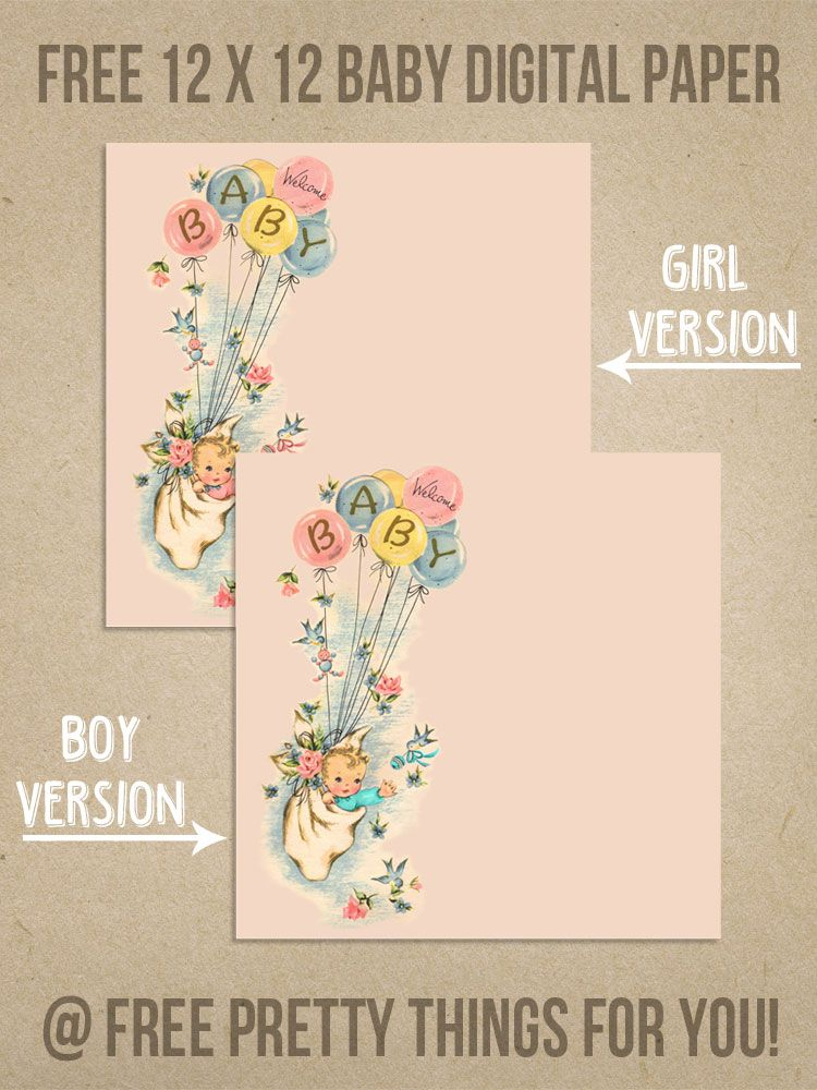 Scrapbooking: Free Welcome Baby 12x12 Digital Paper - Free Pretty Things For You