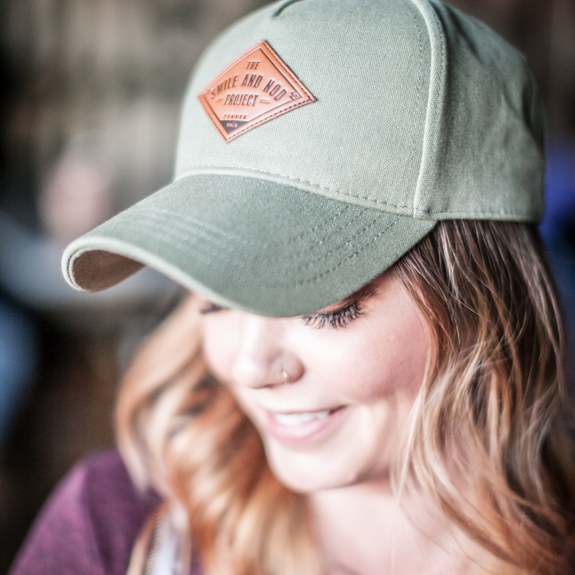 87d612fb668 Leather patch hat baseball cap. The Smile and Nod Project baseball hat.  TSNP Olive Grant Cap.