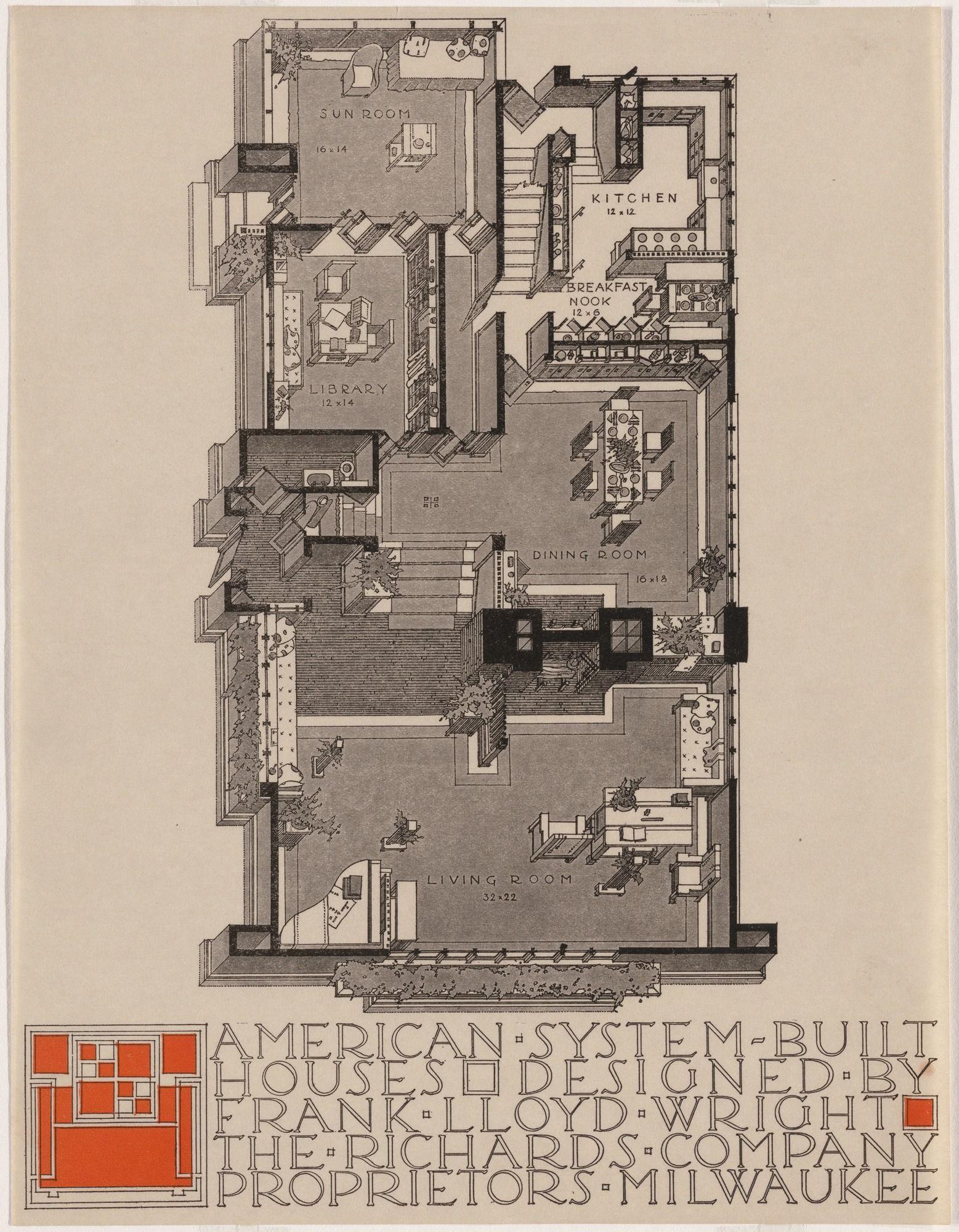 Frank Lloyd Wright Atelier Blueprint Plan 022