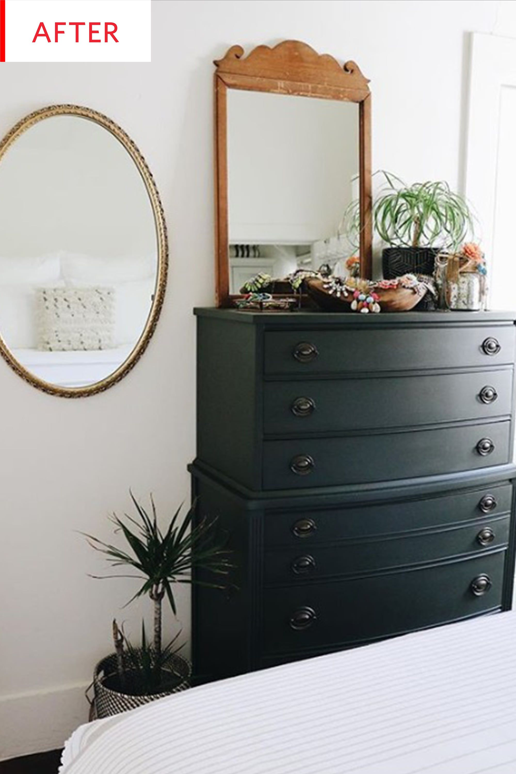 Before And After Who Knew A 75 Craigslist Find Could Look This Good Painted Bedroom Furniture Green Bedroom Furniture Bedroom Makeover Before And After