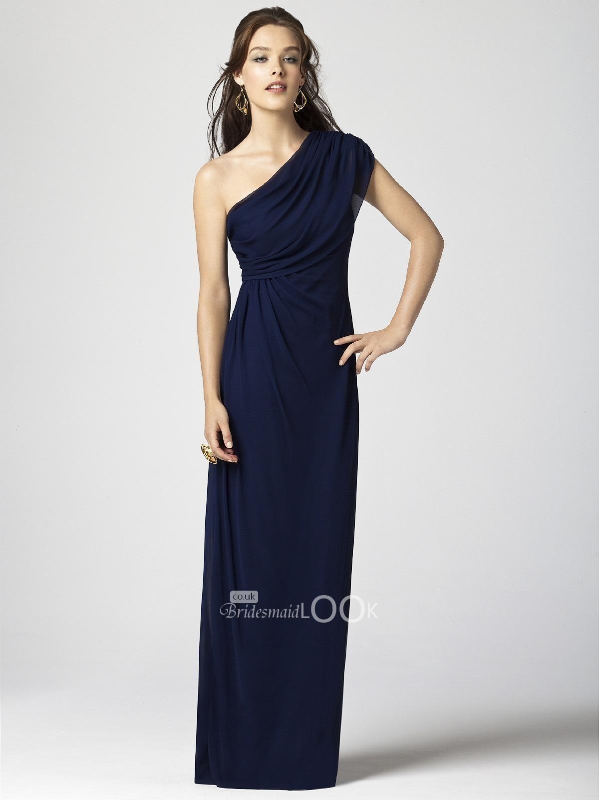 534d4b095a navy one shoulder chiffon floor length bridesmaid gown. Moda VestidosDamas  De Honor ...