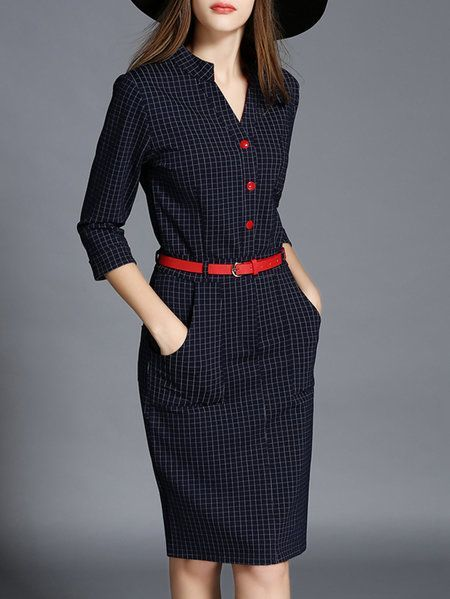 Shop Midi dresses - Purplish Blue Sheath V Neck Polyester Vintage Midi Dress online. Discover unique designers fashion at StyleWe.com.: