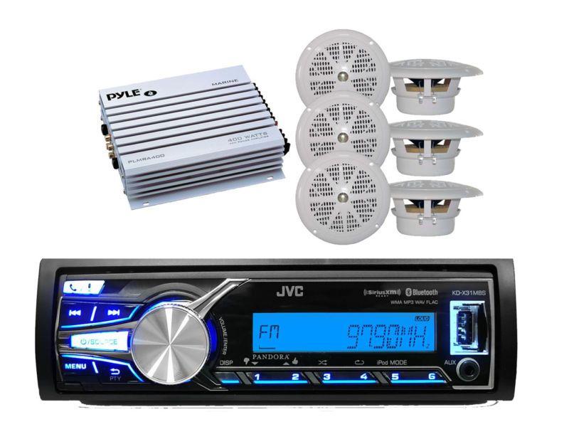 Marine Indash Radio W//iPhone iPod Input Stereo 4 New Black Box Speakers 400W Amp