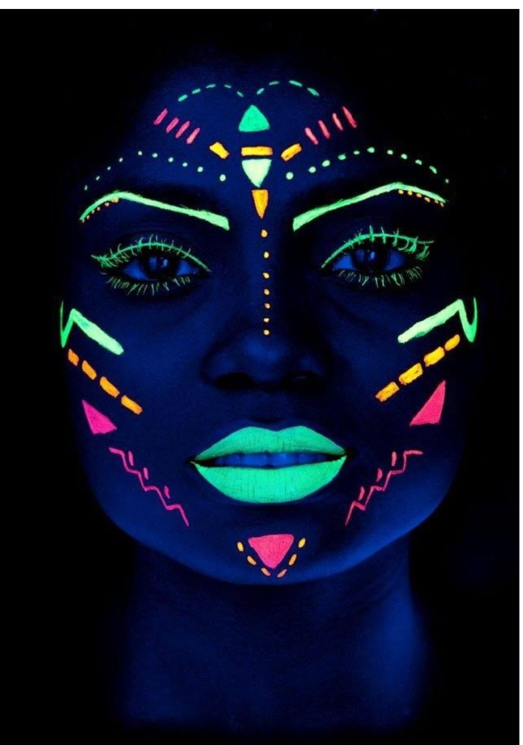 Makeup Idea For Uv Light Tribal Make Up Glow Face Paint Neon