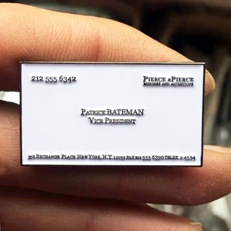 American Psycho Enamel Pin Horror Pins Patrick Bateman Business Card ...