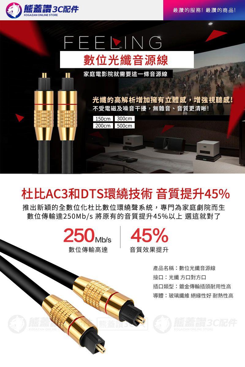鍍金高保真 【快速出貨】 高速數位光纖音源線 音頻線 光纖線 高解析度低損耗 音源線 1.5公尺 150公分