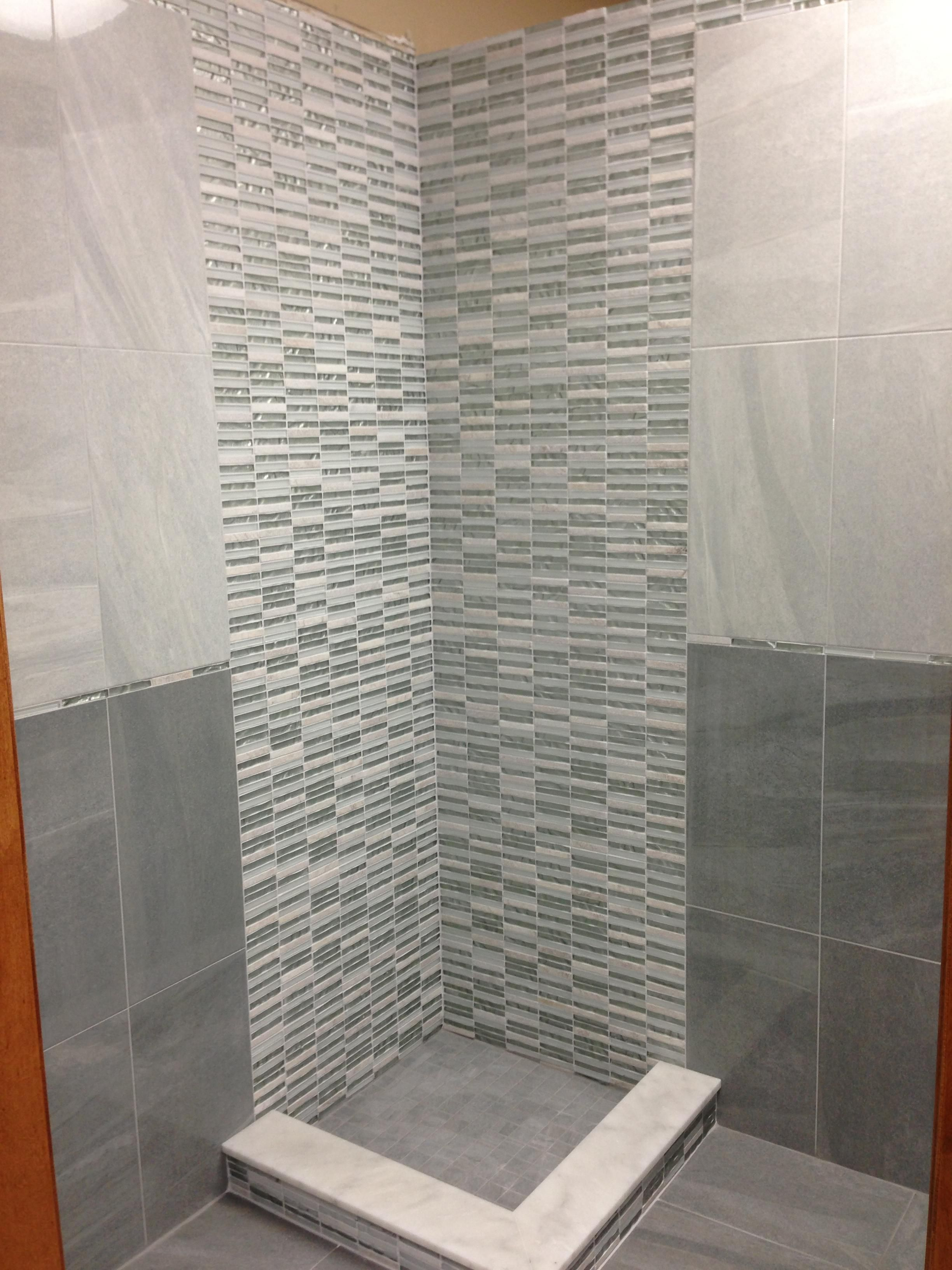cool bathroom tile idea with light 12 x 24 tiles on top of ...