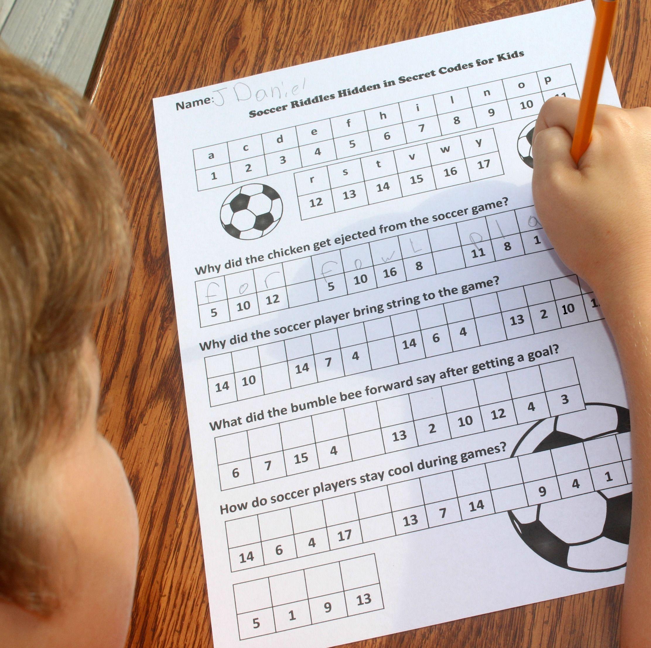 Soccer Riddles Hidden In Secret Codes For Kids Riddles