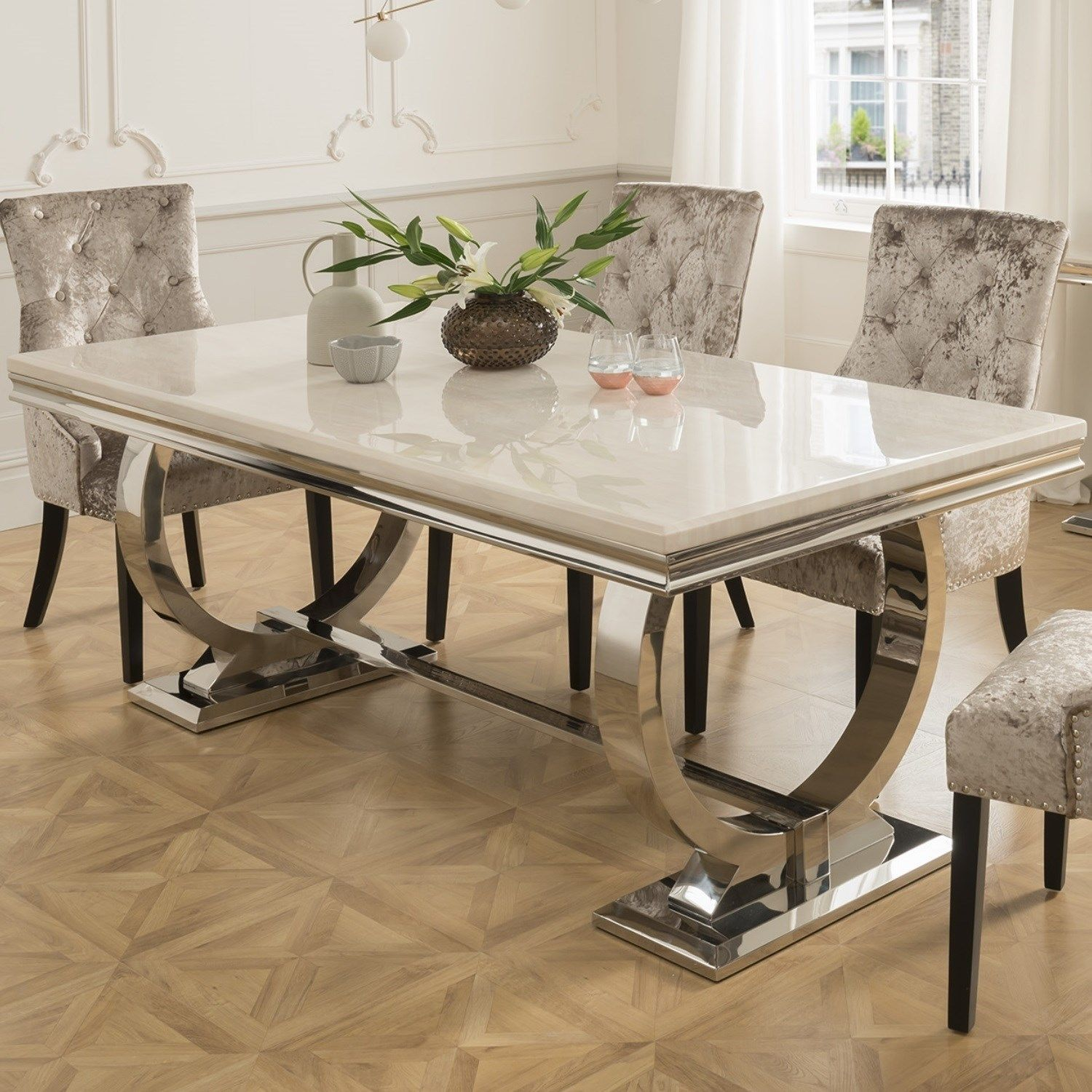 Vida Living Arianna Cream Marble Dining Table 180cm Dining Table Marble Glass Dining Room Table Marble Top Dining Table