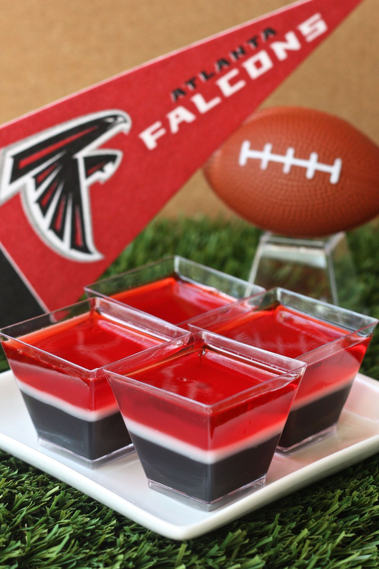 Atlanta Falcons Jell O Shots Recipe Shot Recipes Football Snacks Atlanta Falcons